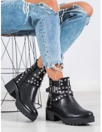 Juodos spalvos aukštos kokybės stilingi batai su kniedėmis - NC1081B