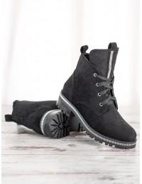 Juodos spalvos zomšiniai suvarstomi stilingi aulinukai - NC1035B
