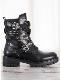 Aukštos kokybės stilingi juodi batai su dirželiais - NC1029B