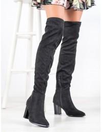 Elegantiški stilingi juodi zomšiniai batai virš kelių - HX21-16191B