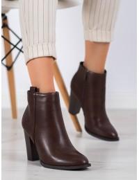 Tamsiai rudos spalvos elegantiški klasikinio stiliaus batai su kulnu - UK08BR
