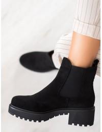Sodrios juodos spalvos zomšiniai aukštos kokybės batai - NS158B