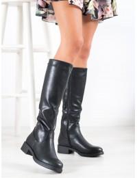 Aukštos kokybės odos juodos spalvos stilingi ilgaauliai - KZ280B