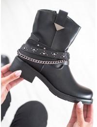 Stilingi juodi batai dekoruoti dirželiais - UL305B