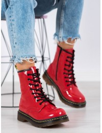 Ryškūs raudoni natūralios odos madingi batai su juodais raišteliais - GL429/20R