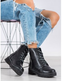 Natūralios odos juodi madingi batai storu padu - GL439/20B-W