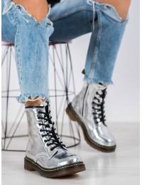 Išraiškingi sidabro spalvos natūralios odos madingi batai - GL429/20S