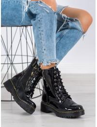 Natūralios lakuotos odos juodi aukštos kokybės madingi batai - GL438/20B-PA