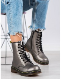 Natūralios odos išskirtinės perlamutrinės pilkos spalvos madingi batai - GL429/20GUN MAT