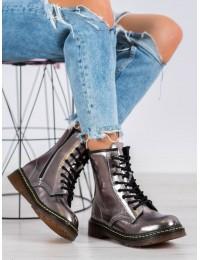 Natūralios odos blizgios pilkos spalvos madingi batai - GL429/20GUN