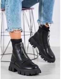 Stilingi juodi originalaus dizaino aukštos kokybės batai su platforma - NS155-1B