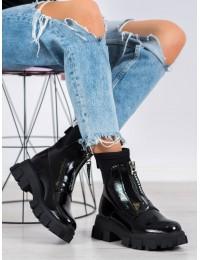 Stilingi juodi originalaus dizaino aukštos kokybės batai su platforma - NS155B