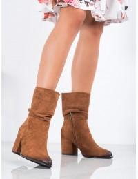 Stilingi aukštos kokybės madingos rudos spalvos zomšiniai batai - XY21-10556C