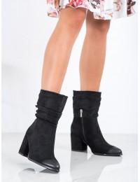 Stilingi aukštos kokybės juodos spalvos zomšiniai batai - XY21-10556B