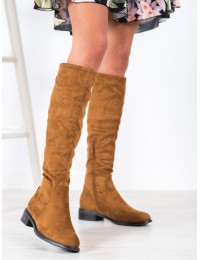 Zomšiniai aukštos kokybės stilingi madingos rudos spalvos ilgaauliai - HX21-16076C