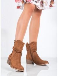 Madingos rudos spalvos zomšiniai stilingi aukštos kokybės batai - 9BT35-1315C