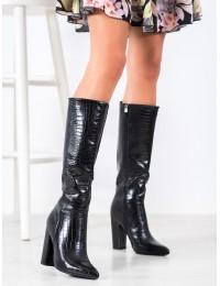 Aukštos kokybės prabangios odos stilingi juodi ilgaauliai - UK01B