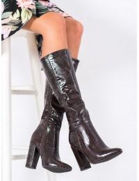 Aukštos kokybės prabangios odos stilingi tamsai rudi ilgaauliai - UK01BR