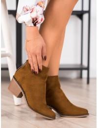 Stilingi kaubojiško stiliaus rudi zomšiniai batai - H20566C