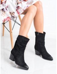 Madingi juodi zomšiniai kaubojiško stiliaus batai - XY21-10544B