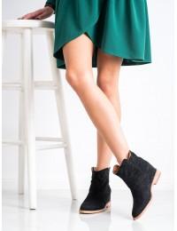 Aukštos kokybės juodi stilingi zomšiniai batai\n - A3708B