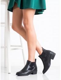 Originalaus dizaino juodos odos batai siuvinėtu priekiu - HFN-7926B
