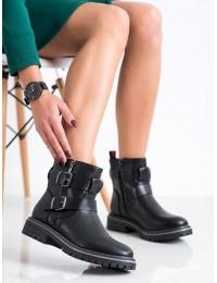 Madingi juodi aukštos kokybės batai su stilingomis sagtelėmis - 20Y8098B/B