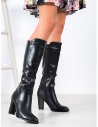 Aukštos kokybės lygios juodos odos elegantiški ilgaauliai rudeniui ir žiemai - UK03B