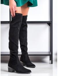 Klasikinės juodos spalvos stilingi aukštos kokybės ilgi batai virš kelių - 20KZ35-3330B