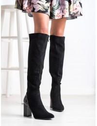 Aukštos kokybės zomšiniai elegantiški ilgaauliai stilingu kulnu - FL3004B