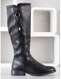 Klasikinio stiliaus juodi odiniai ilgaauliai pašiltinti kailiuku - HF228B