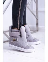 Pilkos spalvos batai su platforma - XW37001 GREY SUEDE
