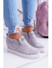 Švelnios pilkos spalvos zomšiniai batai su platforma Lu Boo Grey Kaori - XW36272 GREY