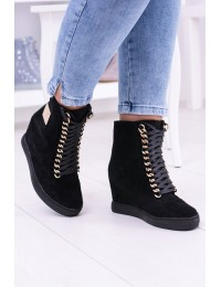 Women s Wedge Sneakers Lu Boo Suede With Chains Black Monica - B-2 BLK GOLD CHAIN