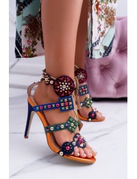 Sandals On A High Heel Stud Jet Brads Rockers Colorful - 1428-40 COLORFUL