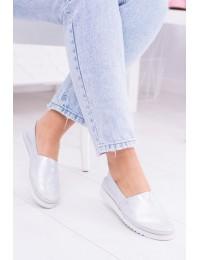 Women's Silver Leather Shoes Slip On Frela - 291/FELA SILVER