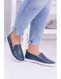 Women's Navy Blue Leather Sneakers Bellara - 8PB85-0230 NAVY