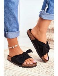 Women's Black Flip-flops Bows Wendy - CK02 ALL BLACK