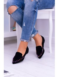 Lu Boo Black Loafers of Iridescent Spikes Suede Spike - 128-A5 BLK