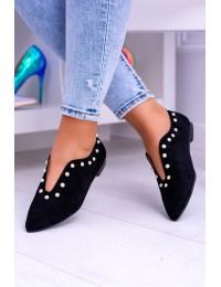 Lu Boo Black Flat Shoes With Cutouts beads Merseo  - 978-B1B BLK