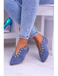 Lu Boo Blue Flat Shoes With Cutouts beads Merseo  - 978-B1B BLUE