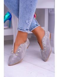 Lu Boo Grey Flat Shoes With Cutouts beads Merseo  - 978-B1B GREY