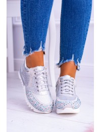Silver Women's Sports Shoes With Sequins Lu Boo Infinitiale - D7-106 SILVER