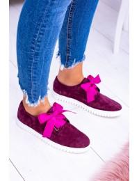 Maroon Leather Women Sneakers Loop - 813 BORDO WELUR