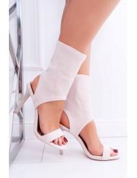 Women s Sandals On High Heel Lu Boo With Zircons Beige Daydream - D-52 BEIGE