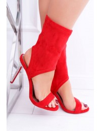 Women s Sandals On High Heel Lu Boo With Zircons Red Daydream - D-52 RED