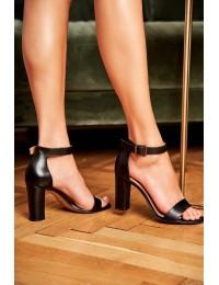Women's Sandals On High Heel Laura Messi 1760 Grain Leather Black Iliady - 1760 BLK 142