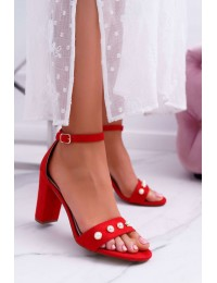Women's Sandals On Heel With Pearls Red Renes - 020A-14 RED