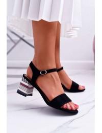 Women s Sandals On High Colored Heel Black Niente - LN19-4546 BLK