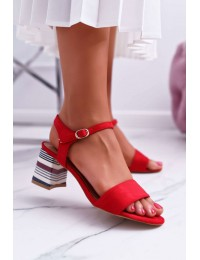 Women s Sandals On High Colored Heel Red Niente - LN19-4546 RED